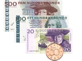 Schwedische Geldscheine, Banknoten, Münzen