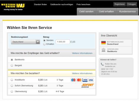 Western Union Kosten