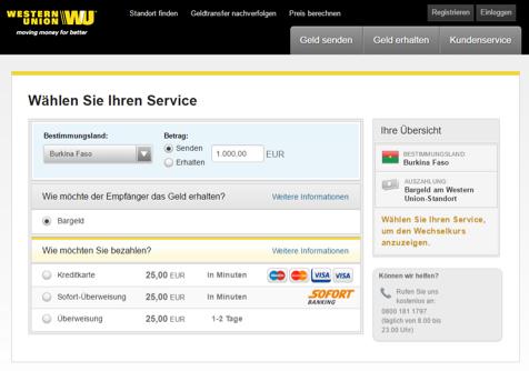 Western Union online Geld senden