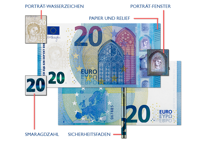 20 Euro Schein Sicherheitsmerkmale, Falschgeld erkennen